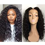Foxys'Hair Unprocessed 7A Peruvian Virgin Human Hair U Part Wigs For Black Women 150% High Density Deep Wave U Part Wig Natural Color (14 inch)