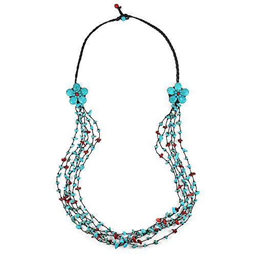 - AeraVida Long Double Blue-Red Flowers and Stone Nuggets Necklace