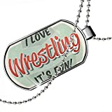 Dogtag I Love Wrestling, Vintage design Dog tags necklace - Neonblond