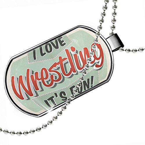 Dogtag I Love Wrestling, Vintage design Dog tags necklace - Neonblond by NEONBLOND