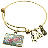 Expandable Wire Bangle BraceletGreetings from Smallville, Vintage Postcard, Neo
