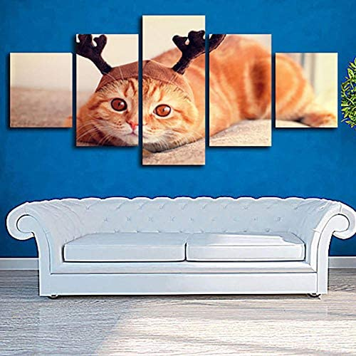 Schilderij Wall Art Modulaire Poster Frame Hd 5 Board Schattig Oranje Kat Moderne Canvas Woonkamer Home