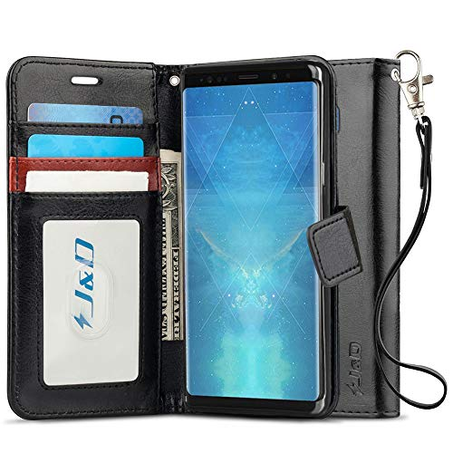 J&D Case Compatible for Galaxy Note 9 Case, [RFID Blocking Wallet] [Slim Fit] Heavy Duty Protective Shock Resistant Flip Cover Wallet Case for Samsung Galaxy Note 9 Wallet Case - Black