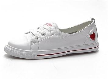 35 Estudiantes de Verano 39 Casuales Cuero Deportes aire Zapatos Zapatos Zapatos versátil Femenino Blanco Otoño XIE Amazon Cuero es y Primavera Casual de XxawPT