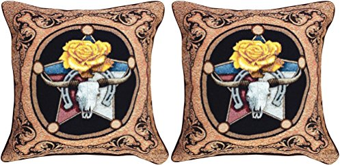 Manual Chisholm Trail Texas Rose Longhorns Western Tapestry Throw Pillow TLCHT 17X17
