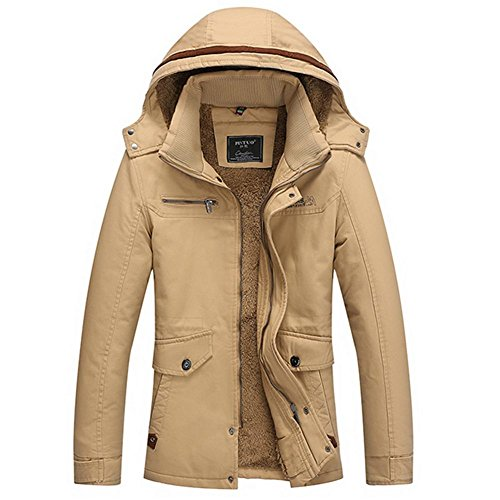Removable Thicken M 4XL khaki Jacket Hood Cotton Men's Winter Hooded Parka Warm 0qw0745