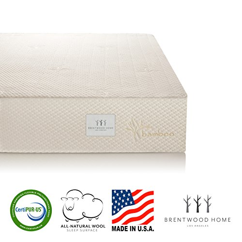Brentwood Home 10-Inch Gel HD Memory Foam Mattress, Made in USA, CertiPUR-US, 25 Year Warranty, Natural Wool Sleep Surface and Bamboo Cover, Olympic ()