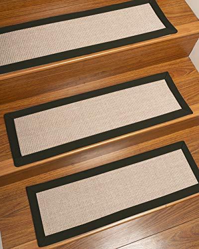 NaturalAreaRugs 100% Natural Fiber Blair, Sisal Beige/Rose, Handmade Custom Stair Treads Carpet Set of 13 (9