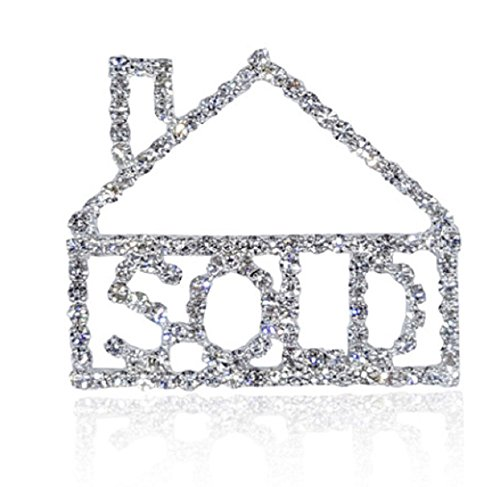 Realtor House Sold Pin Brooch Bling is Embellished with Clear Crystal Rhinestones.Perfect Way to Advertise Your Craft or Realtor Thank You Gift (Best Way To Advertise A Product)