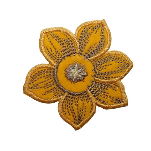 ID 6128 Daffodil Sunflower Patch Flower Plant Garden Embroidered IronOn Applique