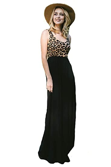 ce4f5bcc1a Plus Size Sleeveless Maxi Dress with Animal Contrast and Hidden Pockets  (2XL)