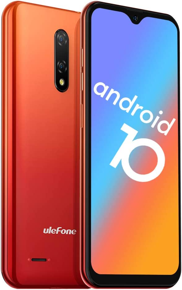 Ulefone Note 8 (2020) GSM 3G Unlocked Smartphone, Android 10 Quad-core 2GB+16GB, Triple Card Slots 5.5 inch Waterdrop Screen, Dual SIM Unlocked Cell Phones, 5MP+2MP Rear Camera, 2700mAh - Orange