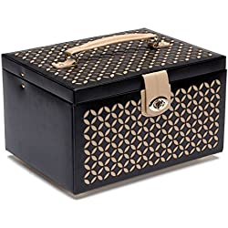 WOLF 301002 Chloe Medium Jewelry Box, Black, Gold