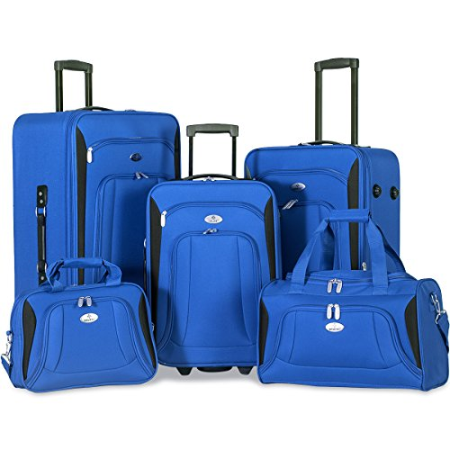 Merax Newest 5 Piece Set Expandable Rolling Suitcase Softshell Deluxe Luggage Set (Blue) by Merax.