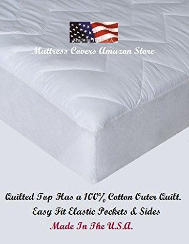 Super Single Super Twin Quilted Cotton Waterbed Mattress Pad Import It All