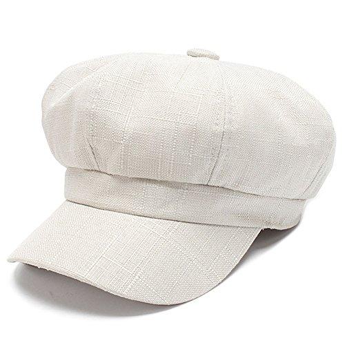 HH HOFNEN Classic Solid Newsboy Cabbie Beret Cap Unisex Linen Painter Visor Hat (White)
