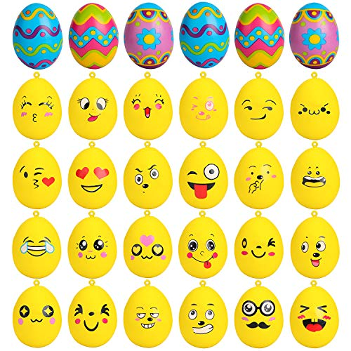 R HORSE Easter Egg Squishies Set Emoji Easter Egg Squishy Toys Basket Stuffers Fillers Easter Party Decorations Party Favors Slow Rising Cream Scented Stress Relief Decompressive Toys (30 Packs)