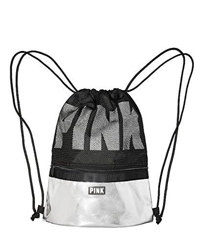 Victoria's Secret PINK Drawstring Backpack, Black/Metallic