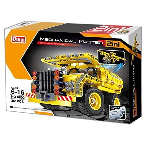 Mechanical Master 2-in-1 Dump Truck and Airplane Building Blocks Set 361pcs Engineering Bricks Construction Kit Sky Toys Kids STEM Education