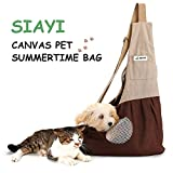 Pet Sling Carrier Shoulder Bag SIAYI Hands Free Reversible Traveling Comfortable Puppy Purse with Built-in Hook Adjustable Double-zipper Pouch Pack for Walking Motorcycling