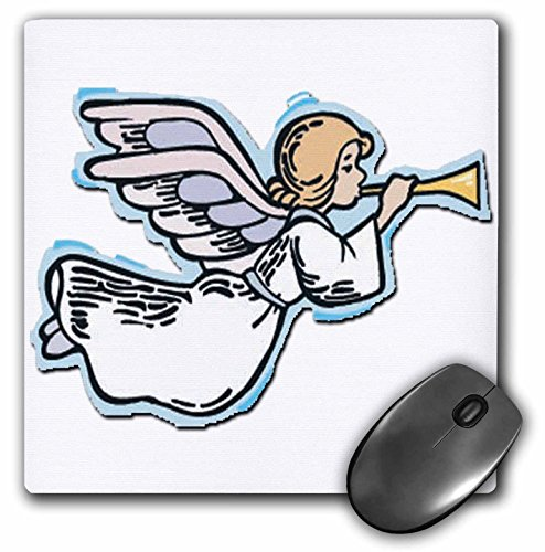 - 3dRose Blonde Designs Happy Holidays For All - Flying Horn Playing Angel - MousePad (mp_160457_1)