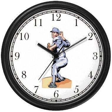 Baseball Theme Wall Clock - Baseball Pitcher No.1 Baseball Theme Wall Clock by WatchBuddy Timepieces (Black Frame)