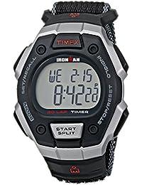 Men's T5K8269J Ironman Classic Digital Silver-Tone Resin Watch with Black Nylon Band
