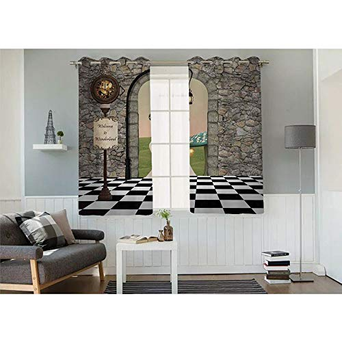 (Indoor shade curtains,Welcome Wonderland Black and White Floor Tree Landscape Mushroom Lantern Decorative,Set of 2 Panels(32