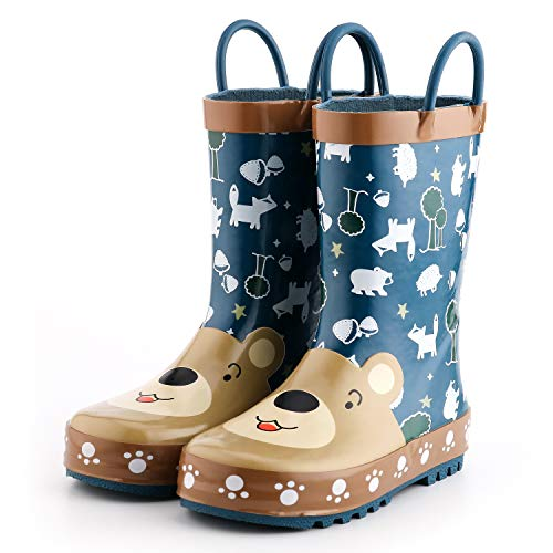 KomForme 3D Animal Kids Boy Rain Boots Cute Grey Bear, 5 M US Toddler