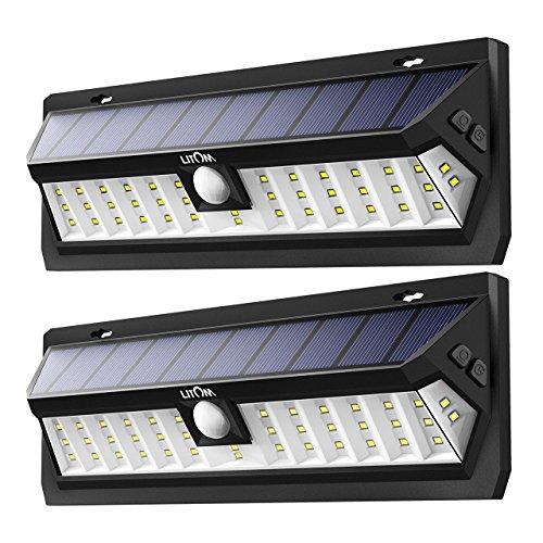 Litom Solar Lights Outdoor, Super Bright 42 LED Solar Powered Motion Sensor Light Adjustable Lighting Time Wall Light for Garden Yard Patio 2 Pack