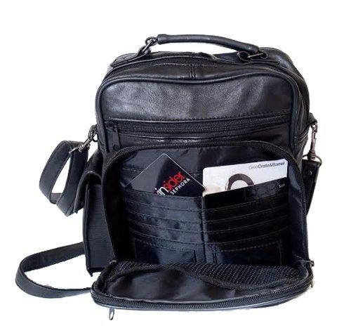 Black Lambskin Shoulder Bag - Mylux High Quality Leather Lambskin Multi Pockets Shoulder Bag (L370)