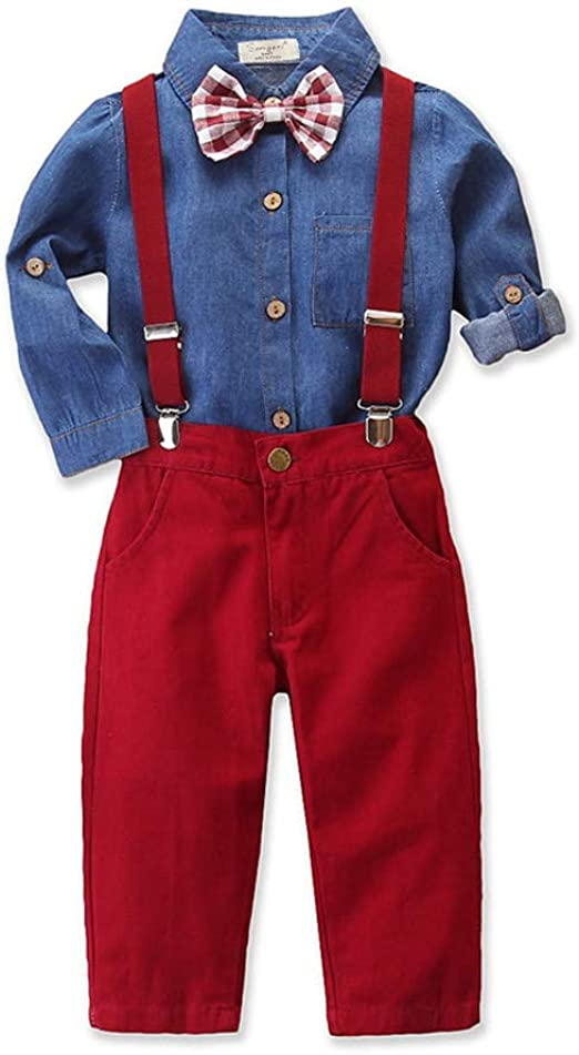 Toddler Baby Boy Gentleman Outfits Plaid Shirt Top and Rompers Handsome Outfits Infant Clothes Set