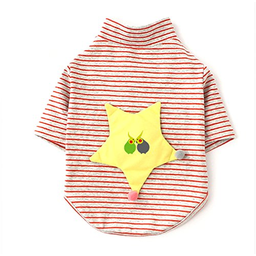 Cockatiel Halloween Costumes (Long Sleeves Stripe Pet Dog Clothes Tee Shirts tow cute Cockatiel Embroidery Pet Costume)