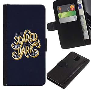 ZCell / Samsung Galaxy Note 3 III / Scared Dark Blue Gold Text Calligraphy / Caso Shell Armor Funda Case Cover Wallet / Asustado oscuro azul oro