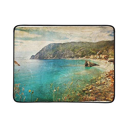 APJDFNKL Picturesue Italian Coast Artwork Retro Painting Portable and Foldable Blanket Mat 60x78 Inch Handy Mat for Camping Picnic Beach Indoor Outdoor Travel (Picnic Riviera Basket)