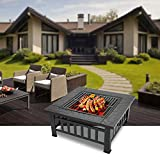 "Bonnlo 32"" Outdoor Fire Pit with Barbecue/Cooking"