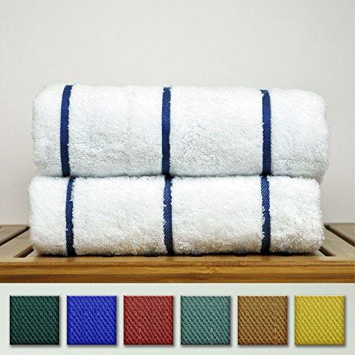 Luxury Hotel Towel Turkish Cotton Pool-Beach Towel Set - Navy Blue - Set of - Towel Linen Striped
