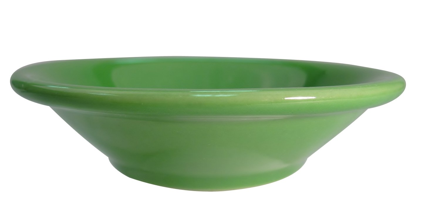 CAC China LV-11-G 4-3/4-Inch Las Vegas Rolled Edge Stoneware Fruit Bowl, 4-3/4-Ounce, Green, Box of 36