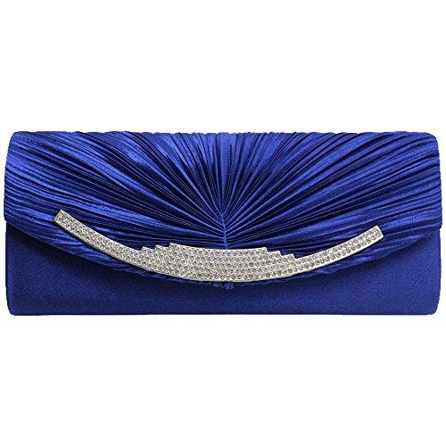 Crystal Prom Royal Purse Silver Evening Women Satin Blue Party Clutch Bag Wedding Diamante Cckuu z7BqnfEw