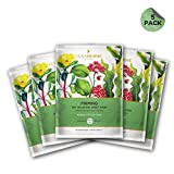 LuxaDerme Firming Bio Cellulose Face Sheet Mask (Pack Of 5) Infused With Essence Containing Peptides, Ceramide, Botanical Extracts & Antioxidants To Help Reduce Appearance Of Fines Lines & Wrinkles