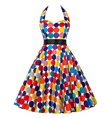 [iPretty Women's Sexy Halter Neck Polka Dot Dress 1950s Vintage Dress Rockabilly Cocktail Swing] (Vintage Pin Up Girl Costume Ideas)