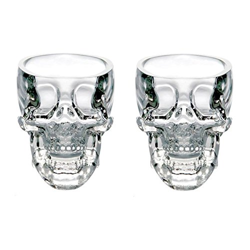 LanHong Crystal Skull Head Cup Pirate Shot Glass for Wine Vodka Whiskey Cocktail,Party Bar Cup Set of 2