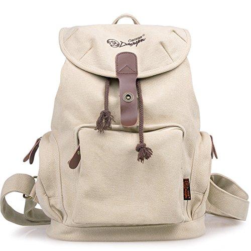 Douguyan Women Backpack Fashion Fabric Backpack School Bookbag Campus Backpack (Beige) - Beige Classic Flap