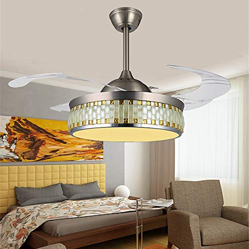Leesville Silver Mosaic Ceiling Fan Light for Home Decoration 4 Acrylic Invisble Fan Blades Chandelier with Remote Control and Led Light For Indoor Use(42 Inch, Silver)