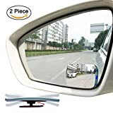 Slim Square 360 Degree Rotate Sway Adjustabe Blind Spot Mirror - Ampper HD Glass Convex Wide Angle Rear View Car SUV Universal Fit Stick On Lens (Pack of 2)