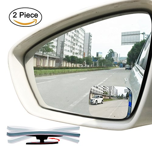 Slim Square 360 Degree Rotate Sway Adjustabe Blind Spot Mirror, Ampper HD Glass Convex Wide Angle Rear View Car SUV Universal Fit Stick On Lens (Pack of 2)