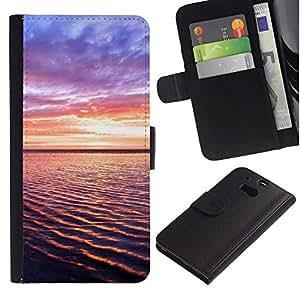 ZONECELL ( No Para HTC ONE Mini 2) Imagen Frontal Negro Cuero Tarjeta Ranura Trasera Funda Carcasa Diseño Tapa Cover Skin Protectora Case Para HTC One M8 - la puesta del sol hermosa naturaleza 93