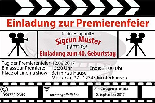50 Geburtstag Einladungskarten zum Geburtstag als Filmklappe Film ...