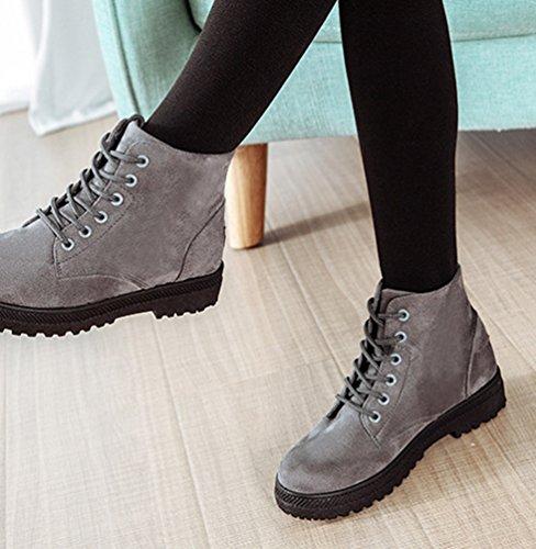 Baymate Bottines Neige Chaudes Bottes Fourrure Plates Femmes Hiver Cheville de Artificielle Chaussures Lacets Automne Uwr1qxU