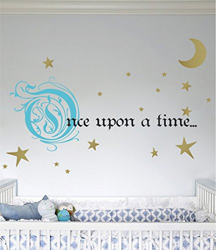 Once Upon a Time Story Book Quote Vinyl Wall Decal Removeable Baby Girl Nursery Fairy Tale Design Sticker (Blue, Gold, Black, 9x22 inches) (The Black Fairy Once Upon A Time)